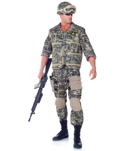Army Men Costume - Underwraps Men's Army Ranger DLX Adult, Camo, One Size