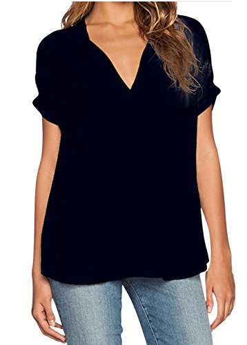 1df5b40c586f2 GUOYUJIANYI Women Chiffon Blouse V Neck Short Sleeve Top Shirts Small Black