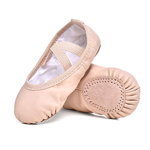 STELLE Girls Ballet Practice Shoes, Yoga Shoes for Dancing(Nude New, 9M Toddler) -
