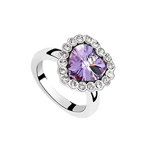 Epinki Gold Plated Ring, Womens Wedding Bands Violet Heart Crystal Cubic Zirconia Heart Ring Size 6.5