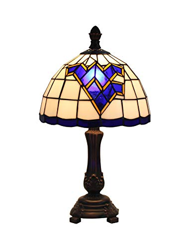 Yolic Tiffany Style Glass Handmade Table Lamp 9-inch West Virginia Mountaineers Stained Glass Table Lamp 16 Inch Total Height