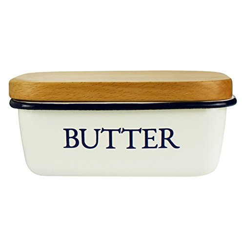 Butter Dish - Enamel Butter Boat with Wooden Lid White - By Svebake (Butter Crock With Lid compare prices)