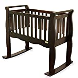 Green Frog, Baby Cradle   Handcrafted Contemporary Wood Baby Cradle   Premium Pine Construction   Wheels, Rockers, and Stationary Options   White ...