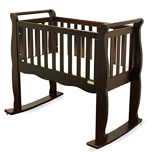 - Green Frog, Baby Cradle | Handcrafted Elegant Wood Baby Cradle | Premium Pine Construction | Wheel, Rockers and Stationary Options | Rich Espresso Color