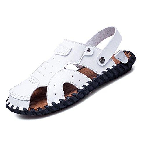 Stilvolle Und Komfortable, Lässig, Anti-Skid Strandschuhe, Handgefertigte Leder Sandalen, Farbe: Weiß, Braun,Weiße,Eu42