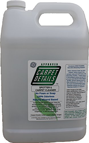 Carpet Details Gallon Concentrate, Odorless, Natural Mineral Based Pet Carpet Cleaning Solution Concentrate Fragrance