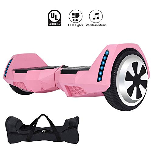 CXM Hoverboard UL 2272 Certified 6.5 inch Two Wheels Electric Scooter with Bluetooth Speaker and LED Side Lights for Kids and Adults,Smart Self Balancing Hover Board -