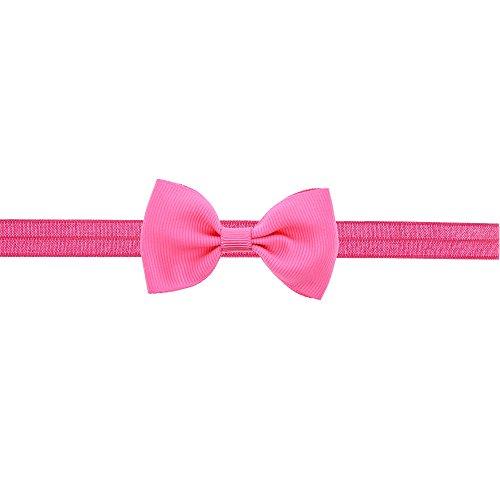 Hot Sale! Newborn Baby Girls Cute Mini Bowknot Hairband Elastic Toddler Kid Headband Hair Accessories (Hot Pink) -
