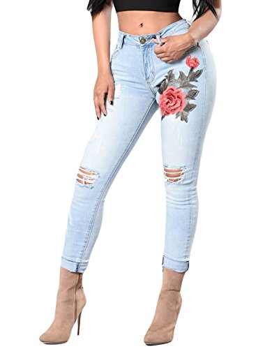Sidefeel Women Rose Embroidered Distressed Wash Stretchy Skinny Jeans Small Light Blue (Jeans Light Wash Women For Skinny)