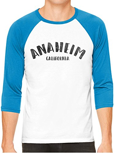 Anaheim Neon Sign - Austin Ink Apparel Unisex Mens City of Anaheim California 3/4 Sleeve White Baseball T-Shirt, Neon Blue Sleeves, 2XL