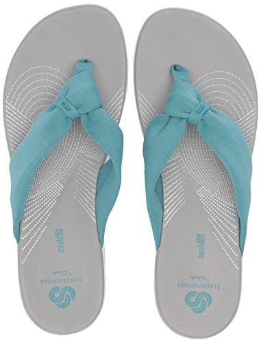 CLARKS Women's Arla Glison Flip-Flop, Aqua Solid Textile, 060 M US (Clark Shoes Women Wide)