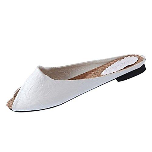 Sommar Sandaler, Inkach Kvinnor Sommar Tofflor Peep-toe Låga Skor Roman Sandaler Damer Flip Flops Vit