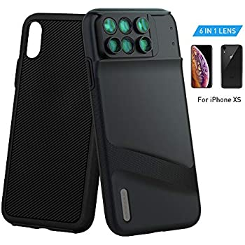 a57ae8062a7c2c MOMAX Lens Case for Apple iPhone X: 6 in 1 Dual Optics Lens Kit  (180°Fisheye, 2X Telephoto,120° Wide-Angle, 10X/20X Macro), Two Layers  Double Protection ...