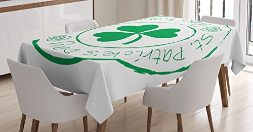 "Ambesonne St. Patrick's Day Tablecloth, Stamp Like Design Greetings for Party March 17 Lucky Shamrock Print, Dining Room Kitchen Rectangular Table Cover, 52"" X 70"", White Green"