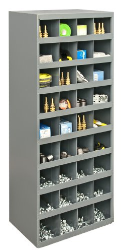 36 Compartment Bin Shelving - Durham 358-95 Gray Cold Rolled Steel 36 Opening Bin with Slope Self Design, 17-7/8