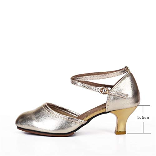 Latin Dancing Shoes Leather Dance Bottom Adult Golden Shoes Female Square Female Adult Shoes Ballroom Dancing Female Square WXMDDN Summer Dance Soft qxAztWqn