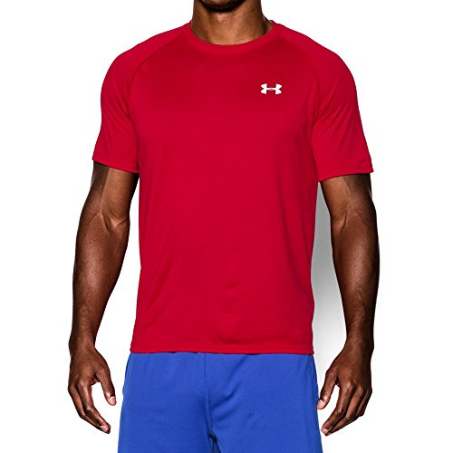 Men's UA Tech™ Shortsleeve T-Shirt Tops by Under Armour (Red/White, (Red Under Armour)