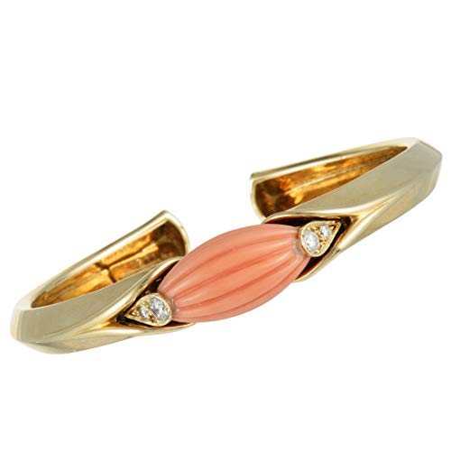 - Van Cleef & Arpels (Estate) Van Cleef & Arpels Vintage 18K Yellow Gold Diamond and Coral Bangle Bracelet
