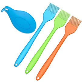 "Silcony Set of 3 Pure Silicone 8.4"" Heat Resistant Basting Pastry Brushes with Hygienic Solid Coating- Perfect for BBQ, Grilling, Baking, Marinating Meat, Steaks, Spring Rolls Bonus Spoon Holder 6 PURE SILICONE & HEAT RESISTANT - Made of 100% food grade silicone material. FDA approved & BPA free. It can withstand heat up to 480 degrees fahrenheit. SOFT & STRONG - Comfortable handling with a nice and flexible grip. The metal rod under the silicone handle makes it easy to use for BBQ & extreme heat. Also, the extra long handle will keep you safe from heat pressure. SAFTEY GUARANTEED - Safe to use in Oven, Microwave, Dishwasher & Freezer. The matrial won't melt under any heat pressure and safe to use for BBQ, baking, even cooking in a frying pan."