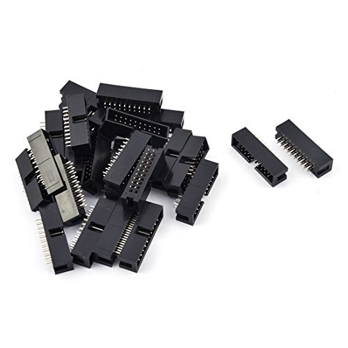 [uxcell 25 Pcs 20-Pin Double Row Straight Shrouded Box Header Connector Pitch 2.54mm] (Double Straight Pin)