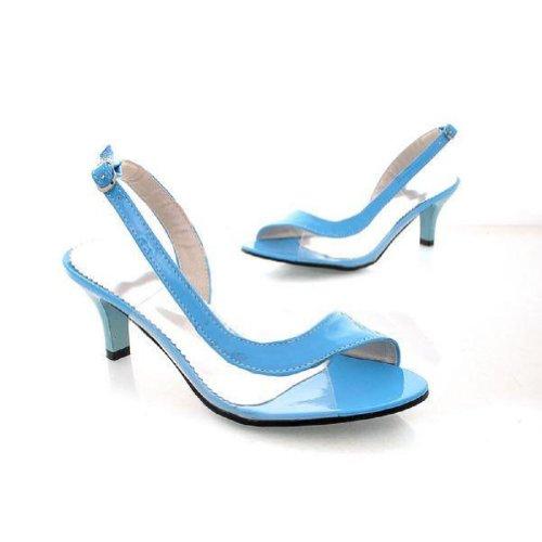 Charm Fot Mode Womens Pump Låg Klack Öppen Tå Sandaler Skor Himmelsblå