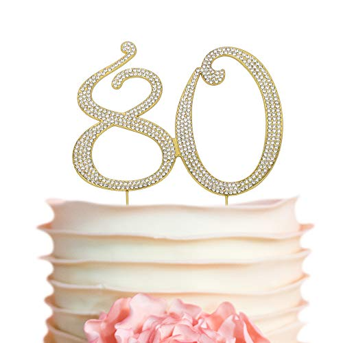 Number 80 GOLD Cake Topper