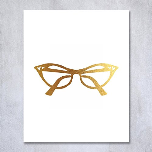 Cat Eye Glasses Gold Foil Vintage Print Fashion Poster Office Glam Wall Art Room Decor 5 inches x 7 inches - Eyeglasses Feminine