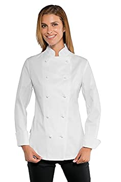 Giacca Cuoco Donna Chef Lady Bianca Super Stretch Extra Light 057560 (S) ISSACO ox057560-BLANC-S
