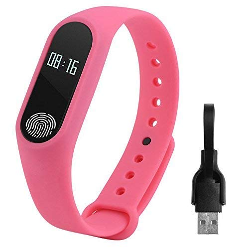 Pink-M2 Bluetooth Fitness Tracker Watch Band Heart Rate Monitor Waterproof Activity Tracker Smart Bracelet Pedometer Call Remind with OLED Display/Fitness Tracker