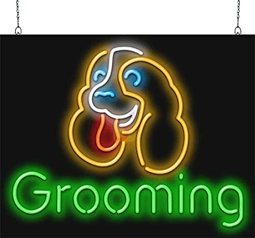 Grooming Neon Sign w/Puppy