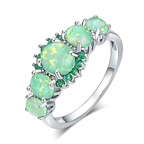 CiNily Silver Plated Green Opal Emerald Gemstone Ring Size 7