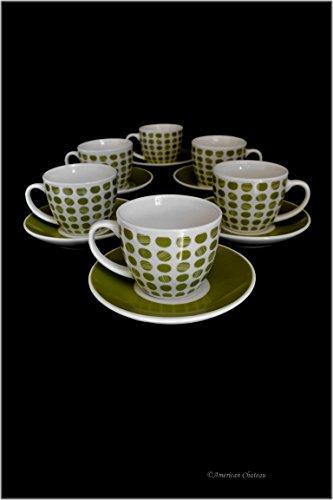 Set 6 Fine Bone China Green Polka Dot Demitasse Espresso Coffee Cups and Saucers