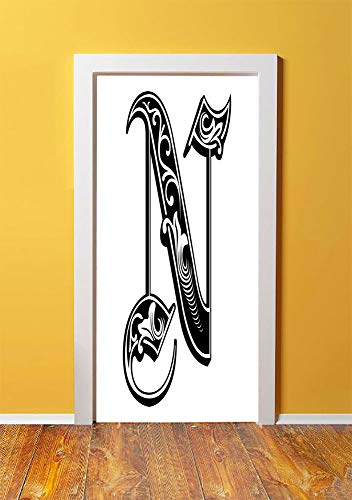 - Letter N 3D Door Sticker Wall Decals Mural Wallpaper,Gothic Victorian Style Typography Classic Capital Character N with Floral Swirls Decorative,DIY Art Home Decor Poster Decoration 30.3x78.12797,Blac