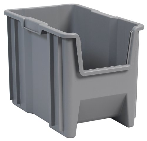 Akro-Mils 13014 Stak-N-Store Stacking Hopper Front Plastic Storage Bin, Grey, Case of (Large Stacking Bin)