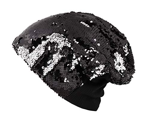(Orityle Bling Magic Reversible Sequins Hats Knitted Truban Beanie Headdress Caps for Women Girls)