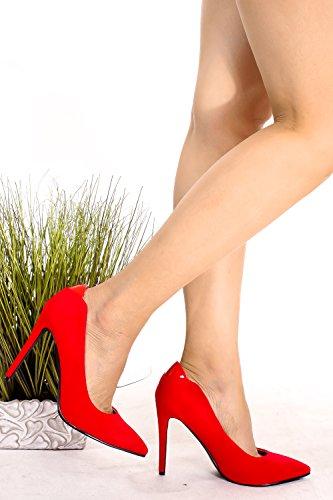 Scarpe Con Tacco Alto In Pelle Scamosciata E Punta A Punta Stiletto Scarpe Rosse Con Tacco A Spillo Redimitsuede