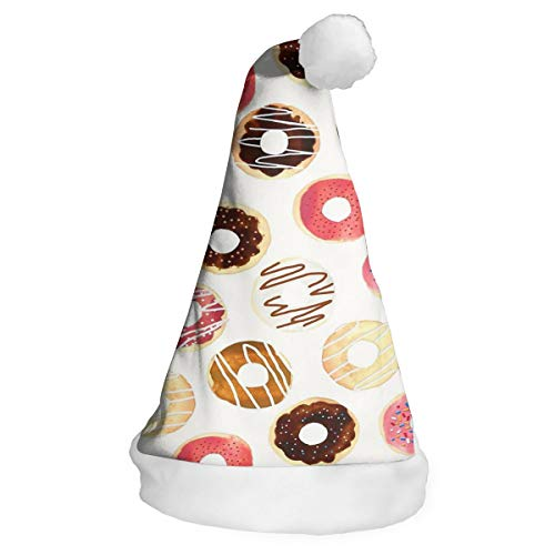 QG ZZX Color Chocolates Doughnut Xmas Party Santa Costume Hat Christmas Hat Delicate Printing Headdress Party Hat for $<!--$13.99-->