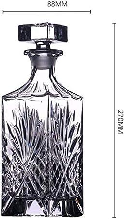 WJJ Botella de Whisky Cristal Whisky Crystal Glass Decanter Botella De Vino Botella De Bodega Hogar Jarra De Vino Con Tapa Decantador De Vino Vino Copa De Vino Decoración Del Gabinete De Vino 750L Dec