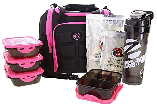 6 Pack Fitness Insulated Meal Prep Bag Mini Innovator Black/Neon Pink Meal Prep Bag