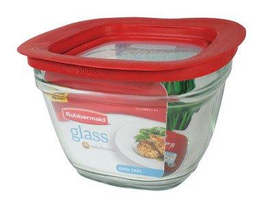 Rubbermaid Easy Find Lid Glass Food Storage Container, 5-1/2 Cup Pack of 2 (Food Glass Storage Rubbermaid)