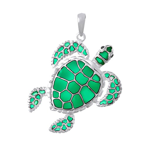 925 Sterling Silver Nautical Pendant, Sea Turtle with Green Stained Glass Enamel