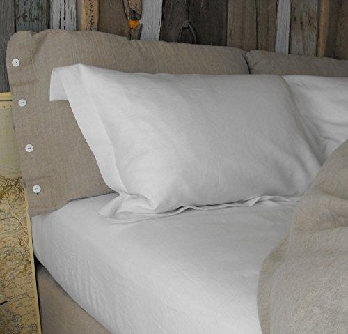 Linen Pillow Slip White, standard with flange