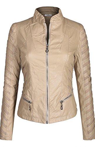 BodiLove Women's Slim Tailoring Faux Leather Zipper Moto Biker PU Bomber Jacket Khaki S