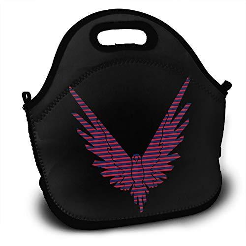 Red Blue Stripe Logan Paul Lunch Bag Tote Box Reusable Handbag For ()