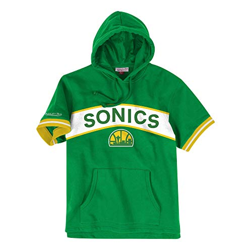 Mitchell & Ness Seattle Supersonics NBA Men's Drills Short Sleeve Hooded Sweatshirt (Large)