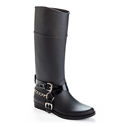 Henry Ferrera Womens Bond 300 Chains & Buckle Tall Rubber Rain Boots