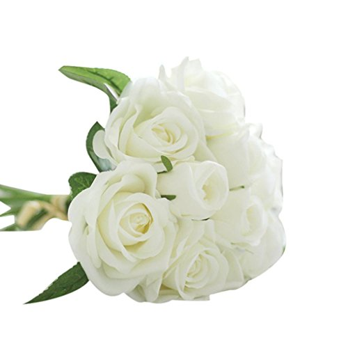 DETALLAN 9 Heads Modern Artificial Silk Fake Flowers Leaf Rose Wedding Floral Decor Bouquet Home Decor (White)