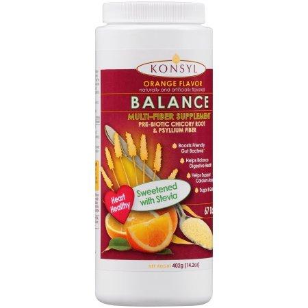 Konsyl Fiber (Konsyl Orange Flavor Balance Multi-Fiber Supplement, Sweetened with Stevia, 402g)