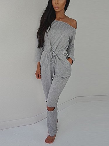 bfa24936f9fe Hibluco Women s Sexy Off Shoulder Jumpsuits Knee Hole Pants Party Club  Rompers