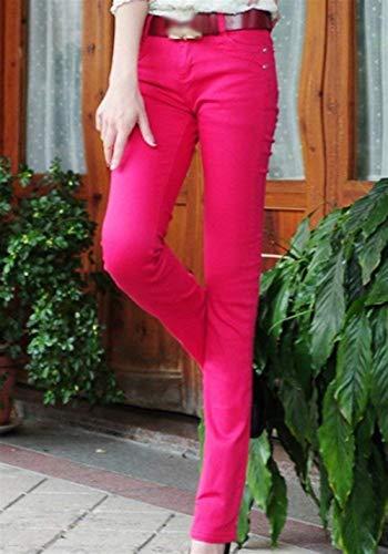 Con Stretch Bolsillos Casual Mujer Micro Jeans 2 Slim Fit Skinny Pantalones De Casuales Botón Sólido Color Rose Acampanados WH7fq8xnBw